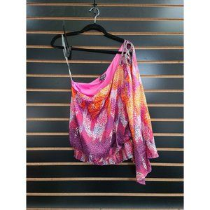 Rampage One Sleeve Charmeuse Pink & Purple Blouse